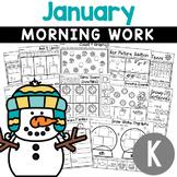 Kindergarten Morning Work NO PREP January (Winter) Worksheets