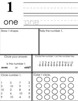 Kindergarten / Grade One: Number Practice (Number 1)