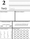Kindergarten / Grade One: Number Practice (Number 2)