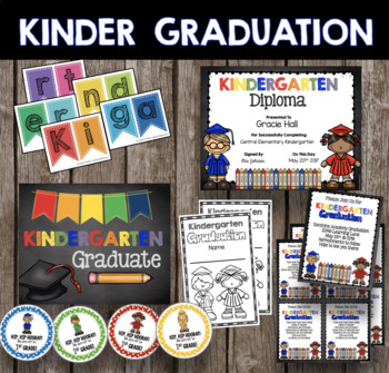 Kindergarten Graduation Bundle - EDITABLE Diploma - Invitation - Banner