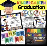 Kindergarten Graduation Bundle - EDITABLE Diploma - Invitation - Banner