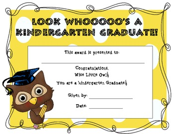 kindergarten graduation certificate owl themed by ashley burdick