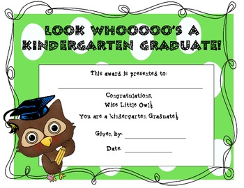 Kindergarten Graduation Certificate (Owl Themed)