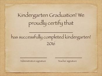 Kindergarten Graduation Certificates 2014-2018