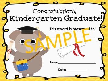 Kindergarten Graduation Certificates (Animal Theme)