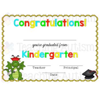 Kindergarten Certificates Dragons