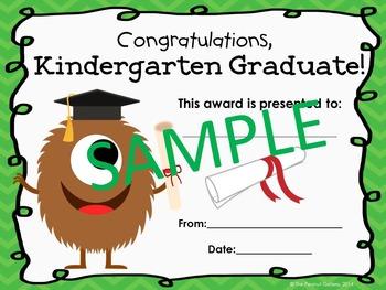Kindergarten Graduation Certificates (Monster Theme)