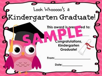 Kindergarten Graduation Certificates (Owl Theme)