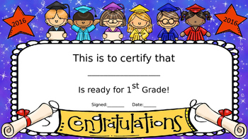 Kindergarten Graduation Certificates and Crowns