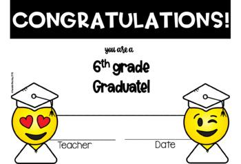 Emoji End of Year Graduation Certificates  for Grades PreK-6th Grade EDITABLE