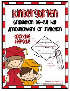 Kindergarten Graduation Die Cut Hat Announcment or Invitation