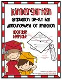 Kindergarten Graduation Die Cut Hat Announcement or Invitation
