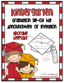 Kindergarten Graduation Die Cut Hat Announcement or Invitation
