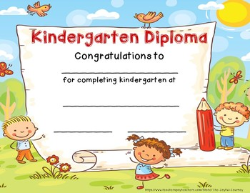 kindergarten diploma kindergarten end of year graduation certificate