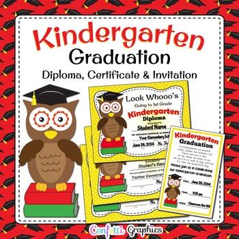 Kindergarten Graduation Diploma and Invitation Cute Owl Award Editable