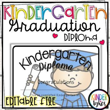Kindergarten Graduation Diploma with EDITABLE file