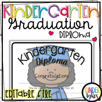 Kindergarten Graduation Diploma with EDITABLE file (Girl G