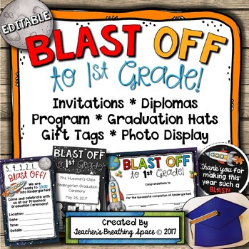Kindergarten Graduation --- Diplomas, Invitations, Caps & More! **EDITABLE**