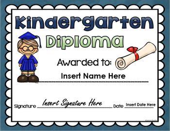 Kindergarten Graduation End of the Year Diploma EDITABLE