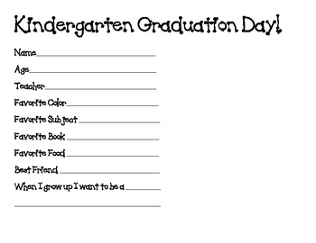 Kindergarten Graduation Handprint Activity