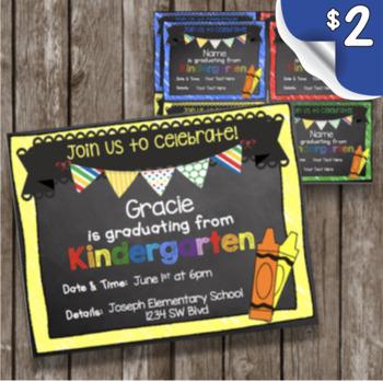 Kindergarten Graduation Invitation - EDITABLE - Chalkboard