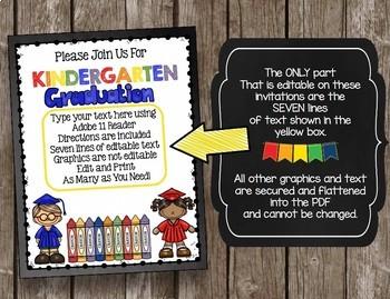 Kindergarten Graduation Invitation - Editable Announcement