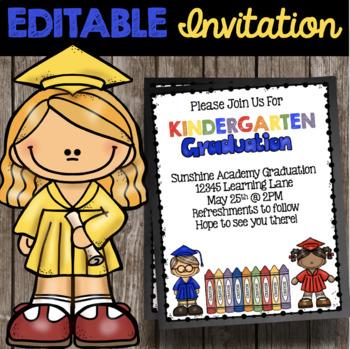kindergarten graduation invitation editable announcement tpt