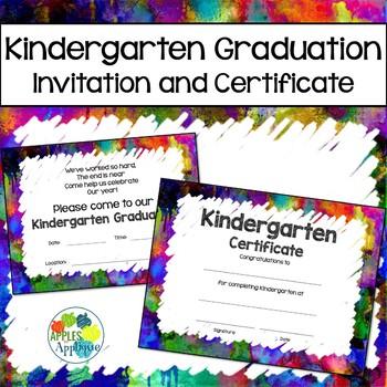 Kindergarten Graduation Invitation and Certificate in Watercolor