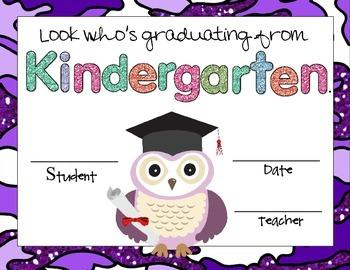 kindergarten graduation owl certificates by aj bergs tpt