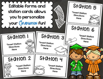 Kindergarten Graduation Starter Pack Templates, Forms and Stations EDITABLE