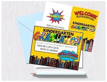 Kindergarten Graduation - Super Hero Theme (Editable)