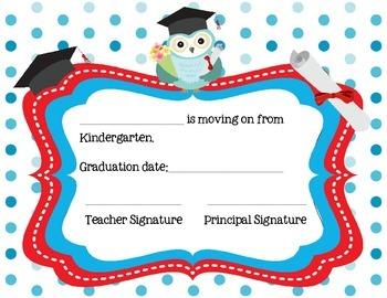 Kindergarten Graduation and Moving On Certificates