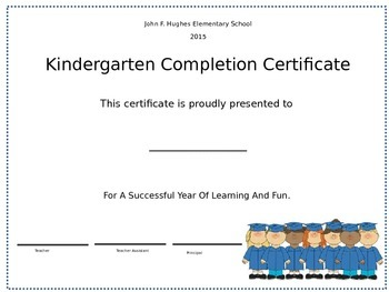 Kindergarten Graduation or Moving Up Ceremony Certificate editable
