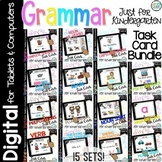 Grammar Digital Task Cards Bundle- Kindergarten Centers for Google Classroom Use