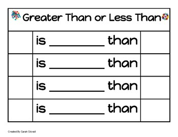 Kindergarten Greater Than/Less Than Game
