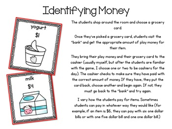Kindergarten Grocery Store: Identifying Money, Addition, and Subtraction