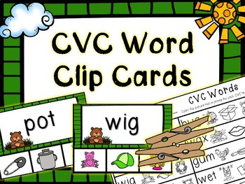 Kindergarten Groundhog Day Literacy Center - CVC Word Clip Cards