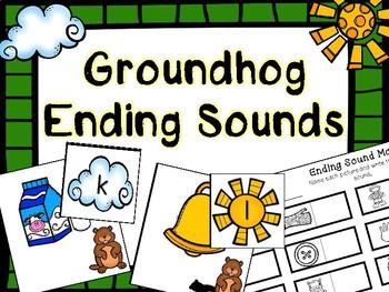 Kindergarten Groundhog Day Literacy Center - Groundhog Ending Sound Center