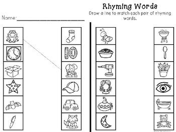 Kindergarten Groundhog Day Literacy Center - Groundhog Rhyming Puzzles