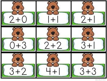 Kindergarten Groundhog Day Math Center - Groundhog Addition Center - Sums 2-9