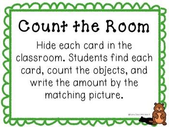 Kindergarten Groundhog Day Math Center - Groundhog Count the Room (teen numbers)