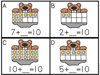 Kindergarten Groundhog Day Math Center - Groundhog Making Ten!