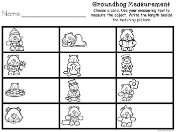 Kindergarten Groundhog Day Math Center - Groundhog Measurement Center