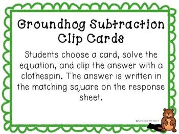 Kindergarten Groundhog Day Math Center - Groundhog Subtraction Center