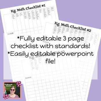 Kindergarten Guided Math Lesson Plan Template Checklists Bundle