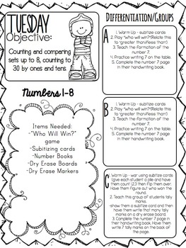Kindergarten Guided Math Lessons For The Entire Year- Quarter 1