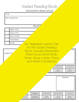 Kindergarten Guided Reading Lesson Plan Book-  Aligned to the Common Core