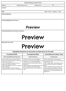 Kindergarten Guided Reading Lesson Plan Template - Indiana Standards (Editable)