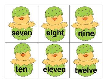 Kindergarten H-F Sight and Color Words Spring Chicks