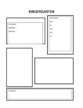 Kindergarten HW Sheet
